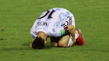 Leo Messi, dolorido