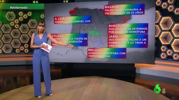 """Sandra Sabatés muestra el vergonzoso mapa de las agresiones homófobas: """"No permitamos cambiar la bandera arcoíris por una negra"""""""