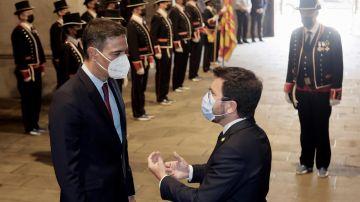 El presidente de la Generalitat, Pere Aragonès, recibe al presidente del Gobierno, Pedro Sánchez