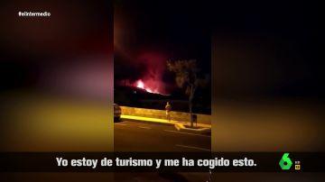 """La reacción viral de una vecina de La Palma al intentar animar a una turista tras la erupción del volcán: """"¡Mira, unas vacaciones diferentes!"""""""