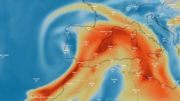 Posible trayectoria del dióxido de azufre del volcán de La Palma