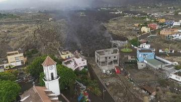 El avance de la lava en Todoque a vista de dron