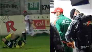 Agresión criminal a un árbitro en Brasil: un jugador, arrestado por patearle en la cabeza y mandarle al hospital