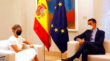 Yolanda Díaz y Pedro Sánchez, antes del Consejo de Ministros
