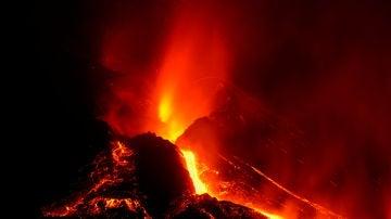 El volcán de La Palma, en plena acción