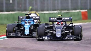 Pierre Gasly y Fernando Alonso