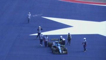 El coche de Fernando Alonso, parado en Austin