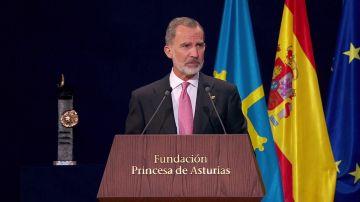 Felipe VI, durante su discurso en los Premios Princesa de Asturias 2021