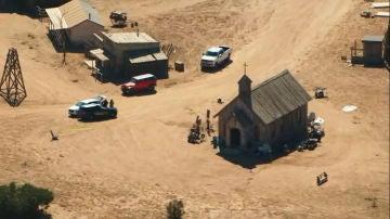 Imagen aérea del set de rodaje de Rust