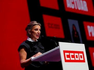 Yolanda Díaz en el 12 Congreso de CCOO