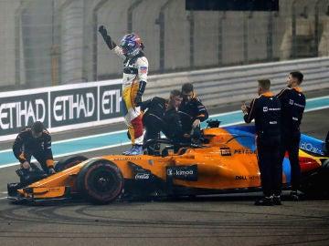 Fernando Alonso en su despedido con McLaren-Honda