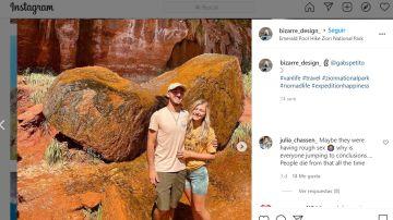 Fotografía de la pareja, Gabby Petito y Brian Laundrie, publicada en sus redes sociales.