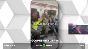 Brutal pelea entre un grupo de jóvenes y dos vigilantes de seguridad en un tren de cercanías en Sabadell